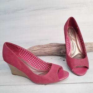 Dexflex Kylee Peep Toe Wedge Shoes